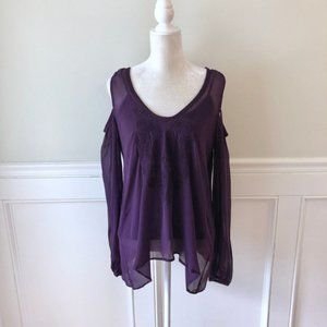 Plenty Tracy Reese Eggplant Cold Shoulder Top NWT